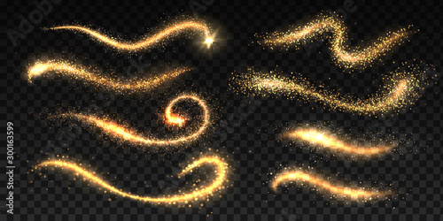 Obraz Sparkle stardust. Magic glittering dust waves, golden glowing star trails, Christmas shining light effects. Vector glamour brush set for illustration fairy magic glittering gold image on black - fototapety do salonu