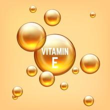 Vitamin E Realictic 3D Bubble. Golden Emulsion Balls Collagen Or Gel. Vector Illustration Isolated Transparent Bubbles Liquid Serum Oil Jojoba On Yellow Background For Advertising Brochure