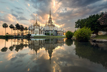 Wat Non Kum Or Non Kum Temple At Sunset, Famous Place Of Nakhon Ratchasima, Thailand