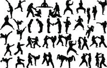 A Large Set Of Silhouettes Of Children Of Girls And Boys Practicing Karate In Different Stances During The Strike And Blocks