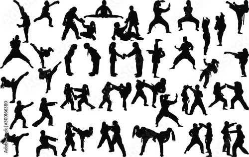 A large set of silhouettes of children of girls and boys practicing karate in different stances during the strike and blocks - 300166380