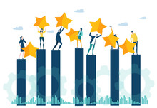 Little People Caring Seven Golden Stars Up, As Symbol Of Success, Ranking And Growth. Little Business People Staying At The Growth Bar, Team Of Success.  Business Concept Illustration