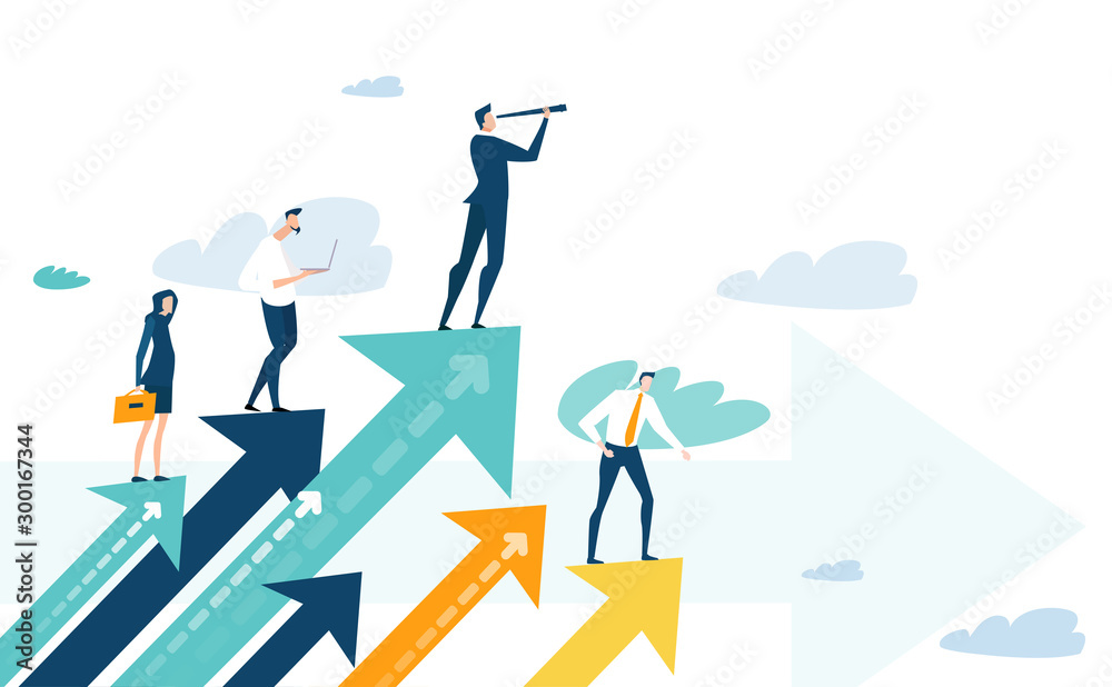 Fototapeta Successful businessman standing on the arrow, which pointing up as symbol of achievement, success and developing business in successful way. Businessman looking forward with the telescope.