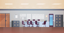 Modern Police Station Or Department With Furniture Empty No People Office Room Interior Flat Horizontal Vector Illustration