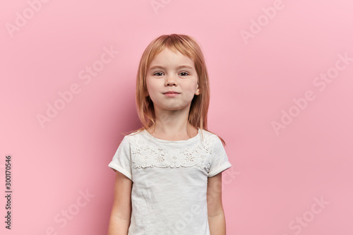 Fotografiet blonde pretty little girl looking at the camera, childhood, beauty, people, free time, sapre time