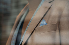 Closeup Of Classic Suit For Men On Mannequin In A Fashion Store Showroom