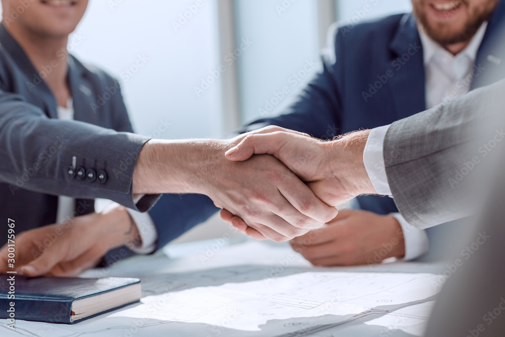 Fototapeta close up. young business people shaking hands.
