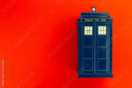Police call box in front of red background flatl lay Tablou Canvas