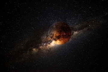 Exoplanet and galaxy 3D render