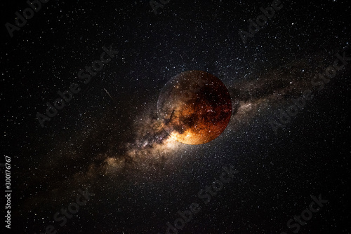 Obraz Exoplanet and galaxy 3D render - fototapety do salonu