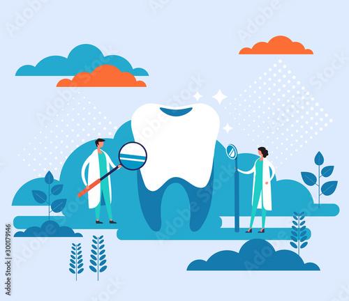 Dentist doctor office banner poster concept. Vector flat graphic design cartoon illustration Wall mural
