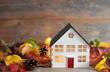 Leinwanddruck Bild - Miniature house autumn