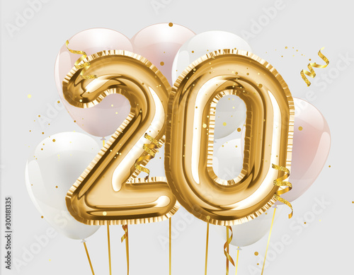 Papel de parede  Happy 20th birthday gold foil balloon greeting background