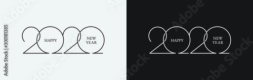 Happy New Year 2020 line drawing typography Tableau sur Toile
