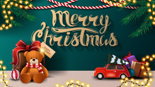 Merry Christmas, Green Greeting Postcard With Garlands, Red Vintage Car And Present With Teddy Bear Near The Wall
