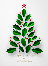 Abstract Christmas Tree Made Of Green Leaves - Greeting Card Background