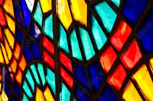 Fotografie, Tablou  A beautiful stained glass window inside a church.