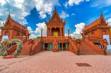 Bang Chan / Bangkok / Thailand / October 27, 2019 / Wat Sammachanyawat : Golden Buddha Statue Around The  Temple.