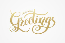 Season's Greetings Brush Calligraphy Vector Banner. Lettering Winter Frosty Card White Text On A Snowy Background. Christmas Posters, Cards, Headers, Website