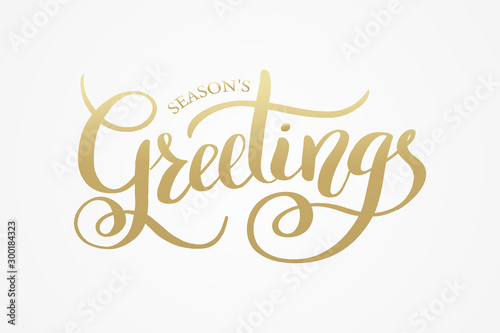 Obraz Season's Greetings brush calligraphy vector banner. Lettering winter frosty card white text on a snowy background. Christmas posters, cards, headers, website - fototapety do salonu