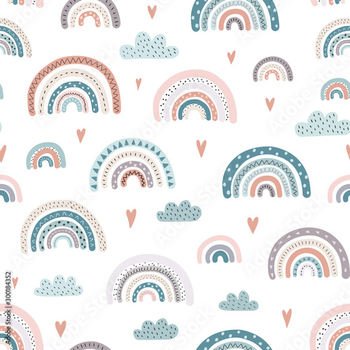 Cute rainbows and hearts seamless pattern. Adorable background Wallpaper Mural