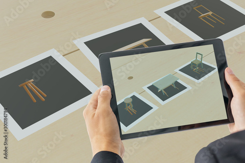 smart augment mixed virtual reality with card to show the product while use technology
