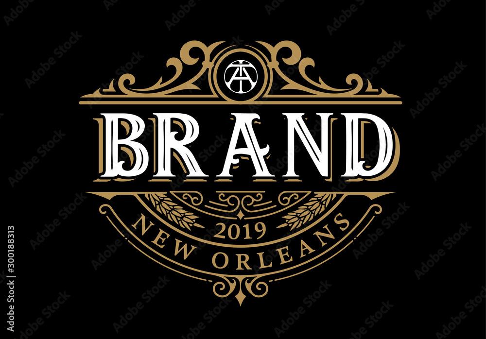 Fototapeta Vintage Luxury Logo Template Design for Label, Frame, Product Tags. Retro Emblem Design. Vector illustration