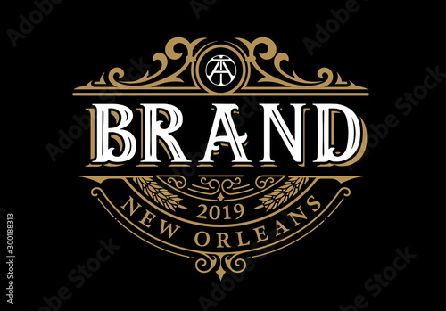 Fotografía  Vintage Luxury Logo Template Design for Label, Frame, Product Tags