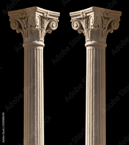 Elements of architectural decorations of buildings, columns and tops, gypsum stucco molding, wall texture and patterns. On the streets in Barcelona, public places. - 300188540