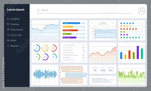 Obraz Dashboard. Progress bars, finance analytics data charts with ui. Report diagrams, graphs and interface for web application vector mockup - fototapety do salonu