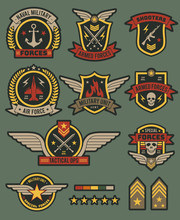 Military Army Badges. Patches, Soldier Chevrons With Ribbon And Star. Vintage Airborne Labels, T-shirt Graphics, Military Style Vector Set
