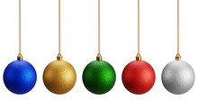 Isolated Christmas Balls On White Background. It Has Five Color Red, Blue, Silver, Gold And Green Christmas Glitter Balls For The Holiday Season, 3D Render