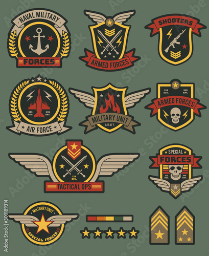 Military army badges Billede på lærred