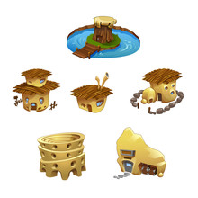 Vector Set Of Cartoon Buildings