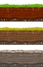Soil Ground Layers. Seamless Ground, Earth Drying Process. Dirt Clay Surface Texture With Stones And Grass. Vector Set