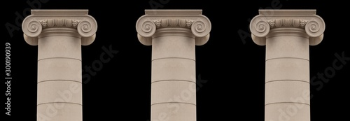 Elements of architectural decorations of buildings, columns and tops, gypsum stucco molding, wall texture and patterns Obraz na płótnie