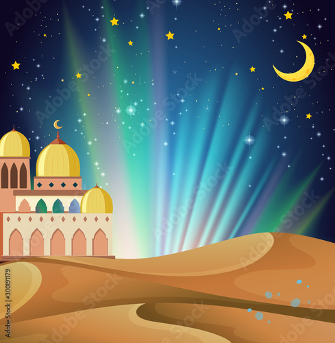 Poster de jardin Jeunes enfants Background scene of arabian night with buildings and desert