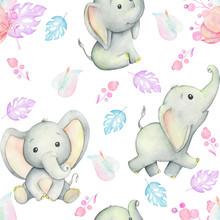 Cute Baby Elephants, Watercolo...