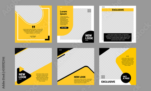 Set of Editable minimal square banner template Obraz na płótnie