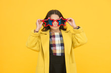 Popular Schoolgirl. Carnival Costume Famous Celebrity. Rock Star. Cool Kid Star Shaped Sunglasses. Star Concept. Fame And Popularity. Party Holiday Celebration. Cheerful Girl Wear Eyeglasses For Fun