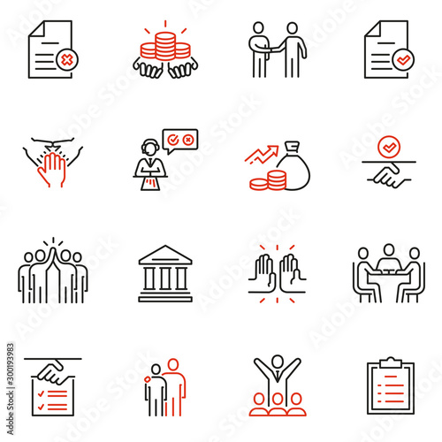Vector set of linear icons related to bargaining, letter of credit and, acknowledgement and affirmation Tapéta, Fotótapéta