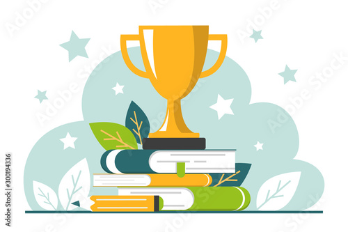 Fotografie, Obraz Golden trophy cup standing on the book stack vector isolated.