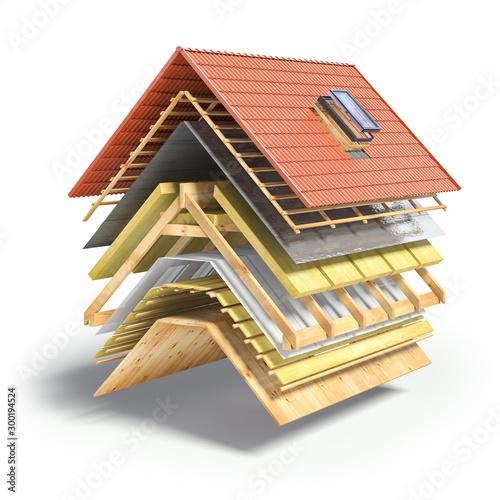 Obraz na płótnie Construction of roof from ceramic tiles