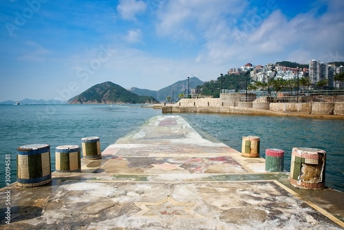 Fotografia, Obraz a pier near repulse bay beach in Hong Kong