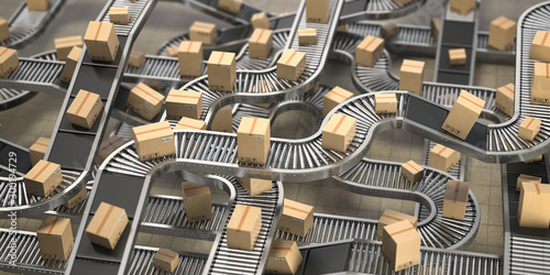 Fotografía Cardboard boxes on conveyor belts and rollers in distribution warehouse, Delivery and packaging service concept background