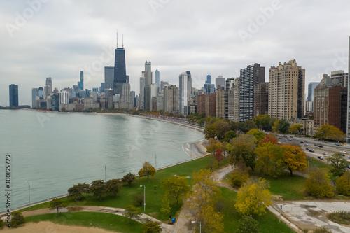 Chicago downtown buildings skyline fall foliage aerial drone © blvdone