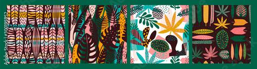 Abstract seamless patterns with tropical leaves Tapéta, Fotótapéta