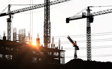 Silhouette Of Worker Are Working At Construction Site On White Background.