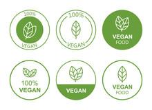 Set Flat Vegan Icon On White Background. Bio, Ecology, Organic Logos And Badges, Label, Tag. Vector Illustration Design