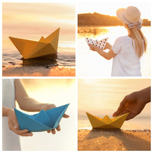 Set Of Photos With Origami Boats